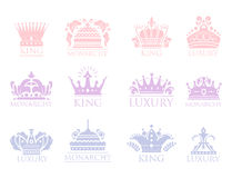 Crown king vintage premium badge heraldic ornament luxury kingdomsign vector illustration. Stock Photography