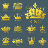 Crown king vintage premium golden badge heraldic ornament luxury kingdomsign vector illustration. Stock Images