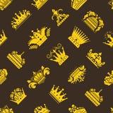 Crown king vintage premium golden yellow badge heraldic icon tiara logo luxury emblem vector seamless pattern. Royalty Free Stock Images