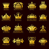 Crown king vintage premium golden yellow badge heraldic ornament icon tiara logo and luxury emblem kingdom princess Royalty Free Stock Photo