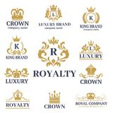 Crown king vintage premium white badge heraldic ornament luxury kingdomsign vector illustration. Royalty Free Stock Photos