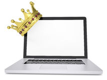 Crown on laptop. Render on a white background Royalty Free Stock Image