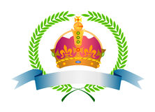 Crown and laurel leaves Stock Photos