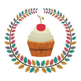 Crown of leaves with cupcake with cream and cherry Stock Photography