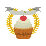 Crown of leaves with cupcake with cream and cherry Royalty Free Stock Image