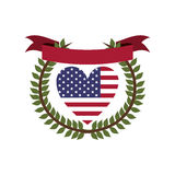 crown of leaves flag united states with heart shape and ribbon Stock Photography