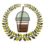 crown of leaves with glass disposable of cappuccino with Skinny drinks Royalty Free Stock Image