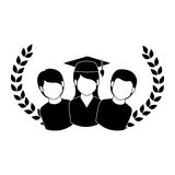 Crown leaves with group people graduated Stock Photo