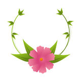 Crown of leaves with pink flower design Royalty Free Stock Photo