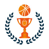 Crown of leaves with Trophy with basketball Royalty Free Stock Photos