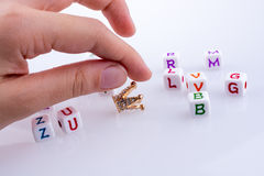 Crown between Letter cubes. On a white background Royalty Free Stock Photo