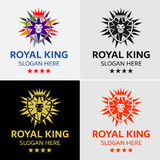 Crown Lion King Crest Logo Template. Design for minimalist and modern logo. Simple work and adjusted to suit your needs Royalty Free Stock Photography