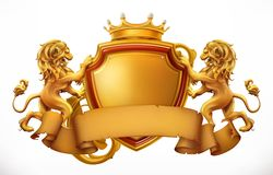 Crown, lions and shield. vector icon. Crown, lions and shield. 3d vector icon stock illustration