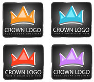 Crown Logo Designs. Four sample logos with modern royal crowns in assorted colors Royalty Free Stock Image