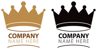 Crown Logo. A crown logo icon in colour and black and white royalty free illustration