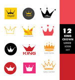 Crown logo icon set Stock Photo