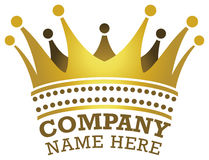 Crown Logo. A king or queen crown logo icon in colour stock illustration