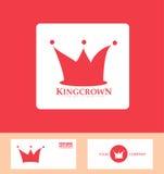 Crown logo red icon set stock illustration