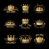 Crown Logo Set Stock Photography