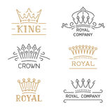 Crown logo set. Luxury crown in trendy line style. Royalty Free Stock Images