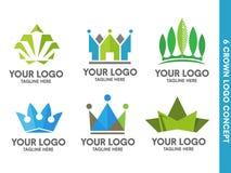 Crown logo set Royalty Free Stock Photo