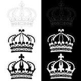 Crown of Louis XIV. Black and white illustration Royalty Free Stock Photos