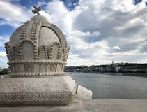 Crown on Margaret Bridge Over the Danube River in Budapest, Hungary royalty free stock images