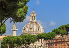 Crown Mediterranean pine trees against a blue sky. Architecture and monuments of Rome Royalty Free Stock Photography