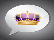 Crown message bubble illustration design Stock Images