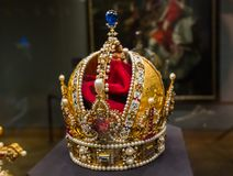 Crown in Museum Hofburg palace in Vienna Austria. Travel background stock images