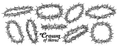 Free Crown Of Thorns Religious Symbols Set Ink Vector Stock Photography - 162274392