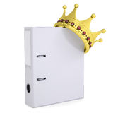 Crown on the office folder. Isolated render on a white background Stock Photography