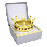 Crown in open gift box Royalty Free Stock Photography
