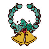 Crown ornament with leaves Christmas and bell Stock Image