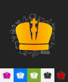 Crown paper sticker with hand drawn elements Stock Photography
