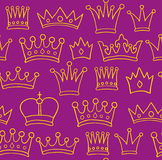 Crown pattern. Seamless crown pattern on violet background. Vector illustration Stock Images