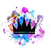 Crown pattern. retro light sign with gold crown,Banner billboard. royalty free illustration