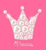 Crown Pearl Background Vector公主 免版税库存照片