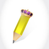 Crown and pencil illustration design Stock Photos