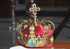 Crown. Picture of crown taken in old orthodox church placed in city of Niš from 12th century. This crown wears bride and groom on their wedding day due to Stock Photo