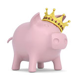 Crown on the piggy bank. Render on a white background Stock Photos
