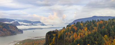 Crown Point Along Columbia River Gorge in Fall. Historic Vista House on Crown Point in Columbia River Gorge one Foggy Day in Fall Season Panorama Stock Image
