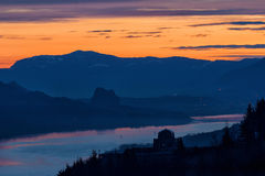 Crown Point and Beacon Rock at Dawn Stock Photos