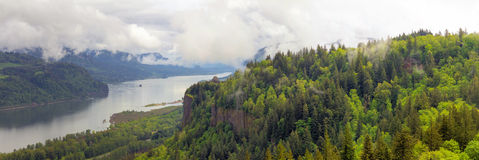 Crown Point on Columbia River Gorge Panorama in Oregon. Crown Point on Columbia River Gorge Oregon on a Cloudy Day Panorama royalty free stock photography
