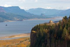 Crown Point on Columbia River Gorge in Portland OR USA. Vista House on Crown Point Oregon at Columbia River Gorge with Beacon Rock View on Washington State Stock Photo