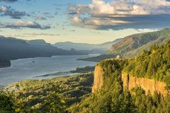 Vista House and the Gorge at sunset Oregon. Royalty Free Stock Photo