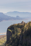 Crown point Oregon. Oregon landscape with the Columbia River Gorge and vista house in early spring Stock Image