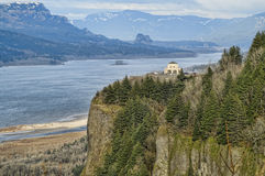 Crown Point, Oregon, USA. View of Crown Point and Columbia Gorge with Cloudy Sky Stock Image