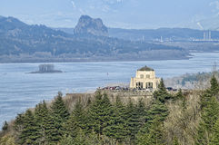 Crown Point, Oregon, USA. View of Crown Point and Columbia Gorge with Cloudy Sky Royalty Free Stock Images