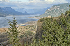 Crown Point, Oregon, USA. View of Crown Point and Columbia Gorge with Cloudy Sky Royalty Free Stock Photography